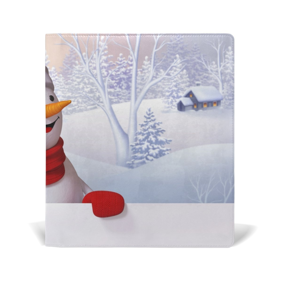 Sunlome Christmas Snowman Pattern Stretchable PU Leather Book Cover 9 x 11 Inches Fits for School Hardcover Textbooks