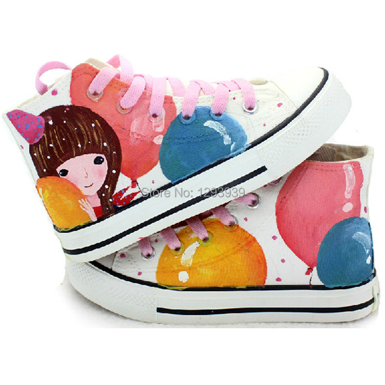 01b26d4983075 Cartoon Pattern Girls High-top Hand Painted Shoes Kids Children Fashion  Casual Sneakers Four Seasons Canvas Shoe