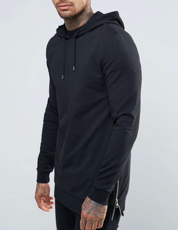 hood with drawstring no pocket jersey fabric side zips wholesale longline Muscle Fit Hoodie