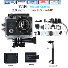 Free shipping Hero 4 Style 4K HD 14MP WIFI Action Camera camcorder 1080P 2.0 inch 170 degree ultra-wide 30M waterproof camera