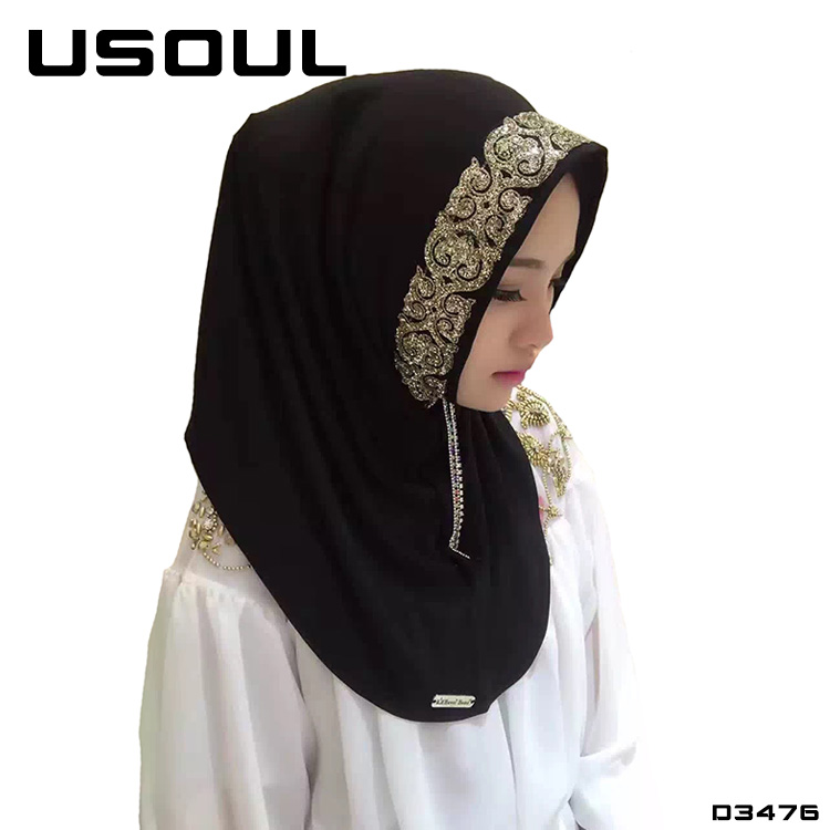 High Quality Polyester Fibre Scarves Multicolor Spot Drill Hijab Stoles Summer Muslim Scarf With Stones