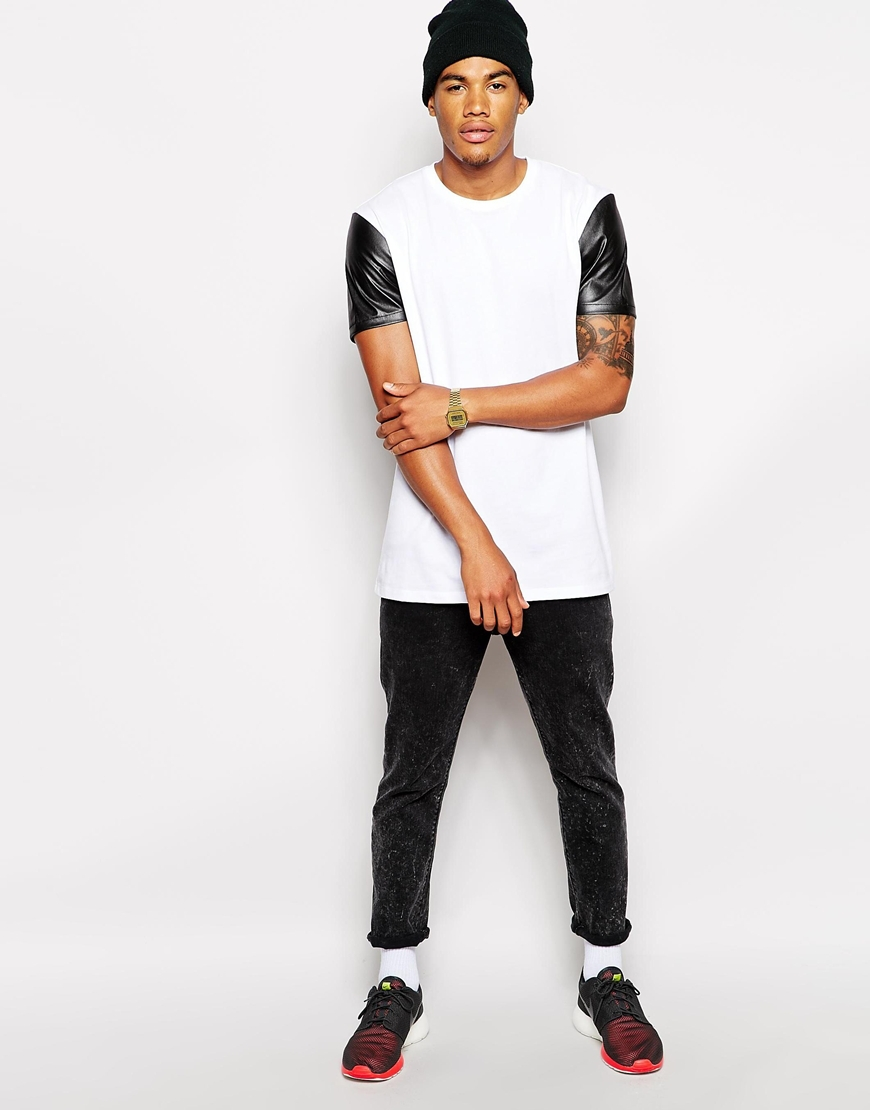 Longline Pure Cotton Leather Sleeve T Shirts