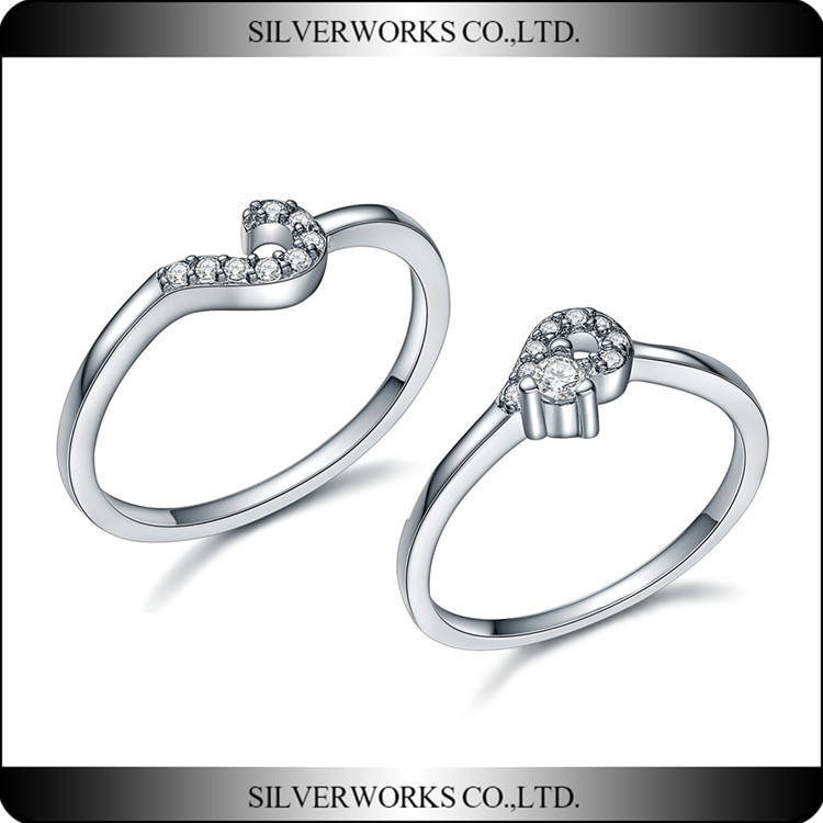 Factory wholesale AAA Zirconia 925 Sterling Silver couple love Ring Set Unique Silver Wedding Ring Set