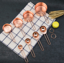 8 STKS SET Koperen Plated Maatbekers <span class=keywords><strong>en</strong></span> Lepels Rose Gold Bakken/Melk/KitchenTools Set