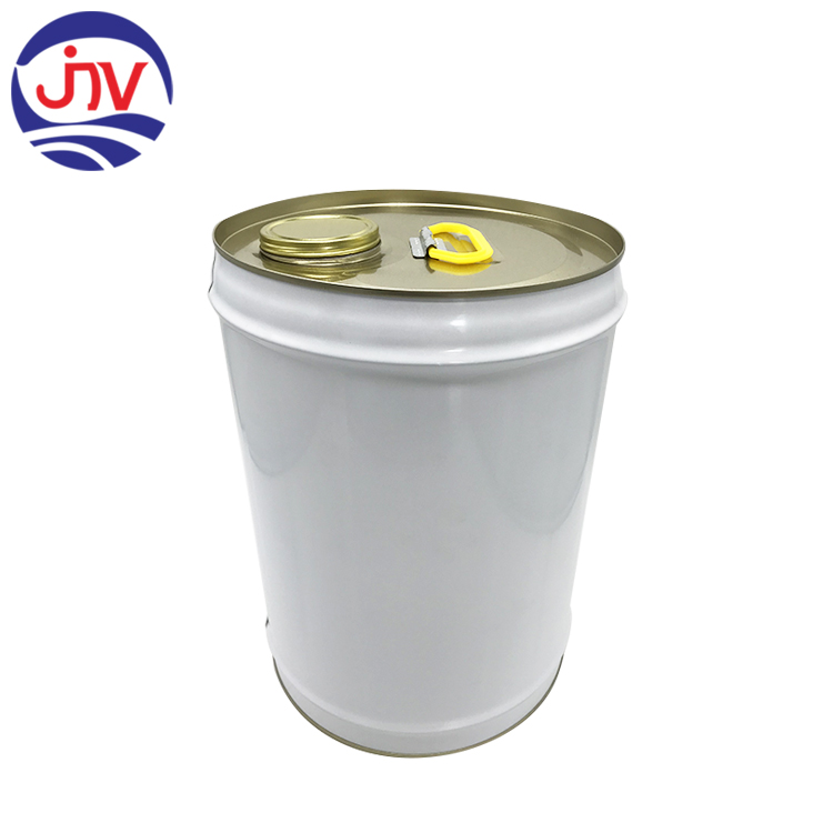 18L Painted white round tin can with Plastic handle