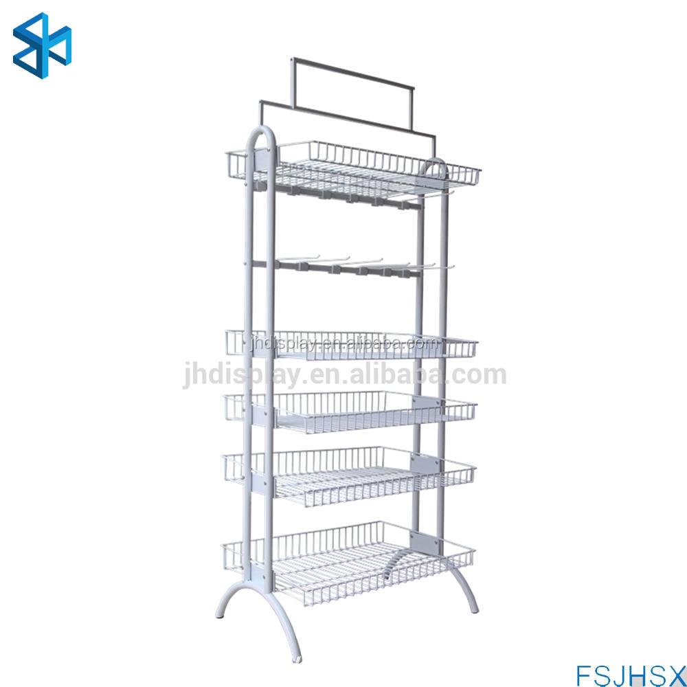 Custom White Metal Wire Basket Display Rack,Hanging Basket Racks ...
