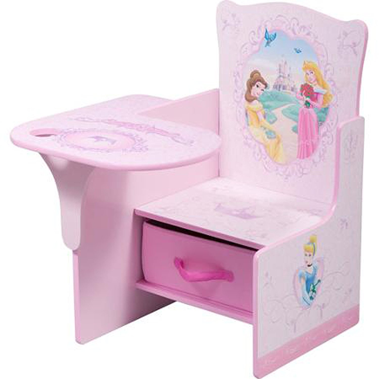 Disney Chair Desk With Storage Bin Princess Characters Fabric Storage Bin Seat Extra Storage Table Toddler Desk Chair MDF Construction Durable Assembly Required Sits Low Children Furniture