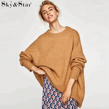 Fashion winter pure color round neck soft knit fabric oversized sweater women with ribbed trims