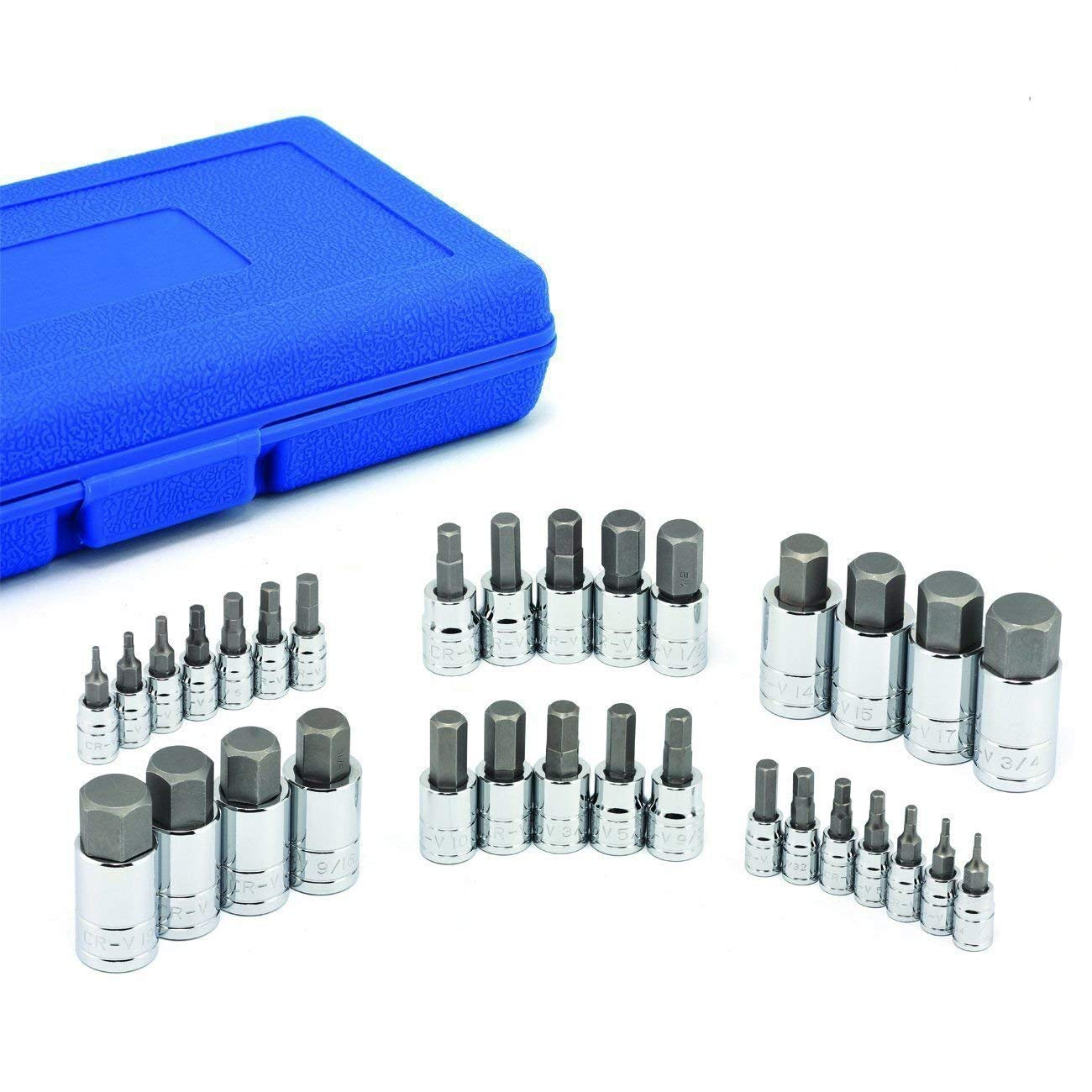 "ESKALEX>>3/8"" 1/2"" DR DRIVE ALLEN WRENCH BIT KIT HEX KEY SOCKET TOOL SAE AND METRIC SET And The set includes: Sockets in SAE sizes: - 1/4-inch drive sockets - 5/64, 3/32, 1/8, 5/32, 3/16, 7/32"