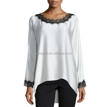 2018 Latest Ballet Neckline White Tunic Tops Women's Long Sleeve Tunic Tops With Lace HST9556