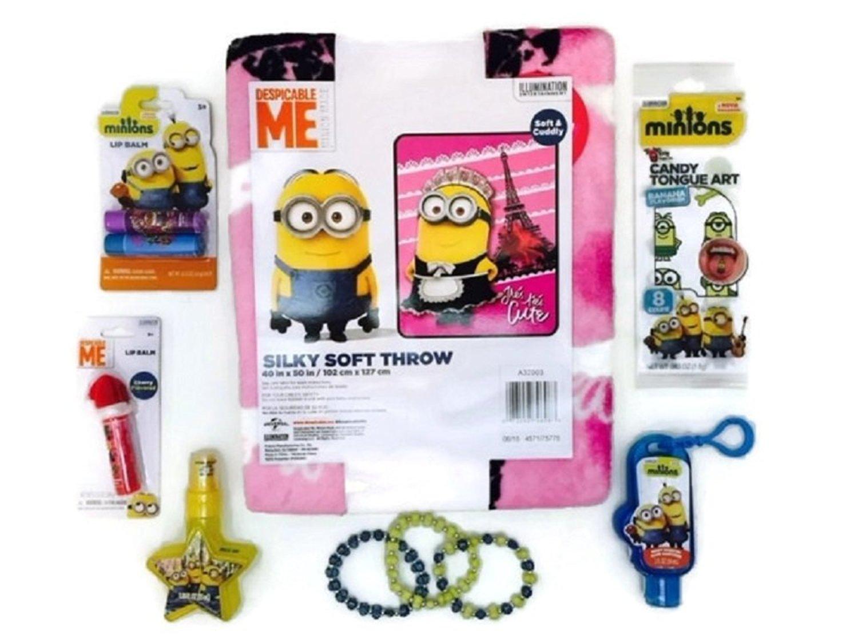 Despicable Me Minions Girly Bundle Pink Fleece Throw Bracelet Set Lip Balm Sparkle Spray Tongue Art
