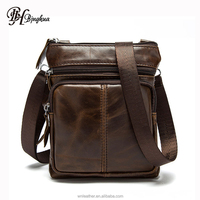 B-1100 Hot Sale Retro Style Business Men Vintage Genuine Leather Messenger Shoulder Bag