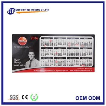 2016 Pleine Couleur Imprimee Magnetique Refrigerateur Calendrier Avec Carte De Visite