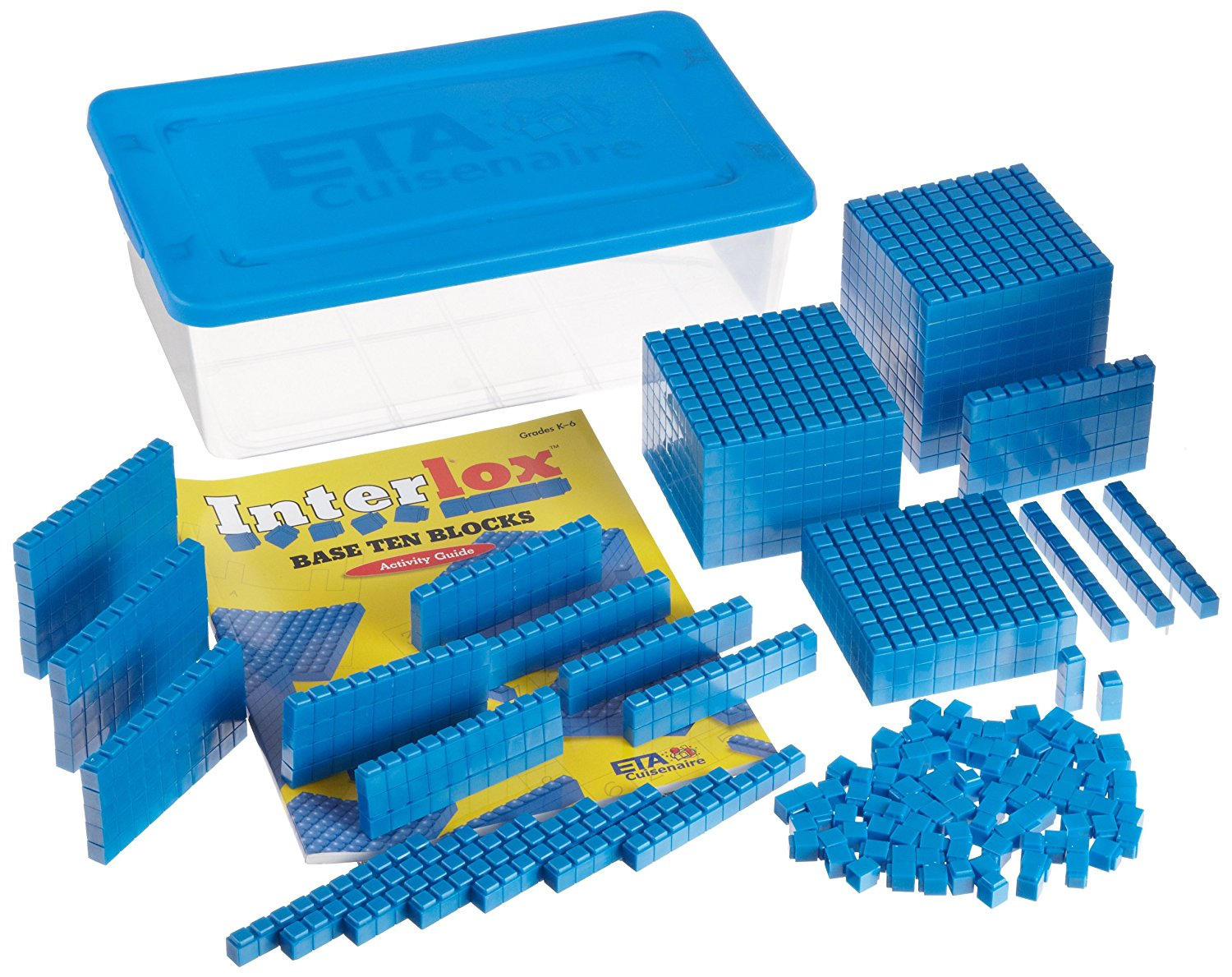 ETA hand2mind Blue Interlocking Base Ten Blocks, Math Manipulative Starter Kit (Set of 161)