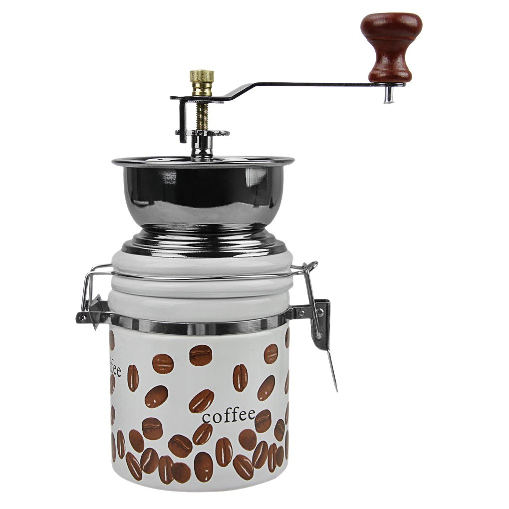 Coffee Grinder, Manual Ceramic Burr Grain Mill Grinders Spice Pepper Herbs Coffee Beans Grinding Maker for French Press Espresso Kitchen Travel Camping Office Mini Portable Hand Crank Coffee Grinder