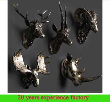Beautiful 3d Antique Vintage Modern Animal Heads Wall Decor Resin Wall  UU56