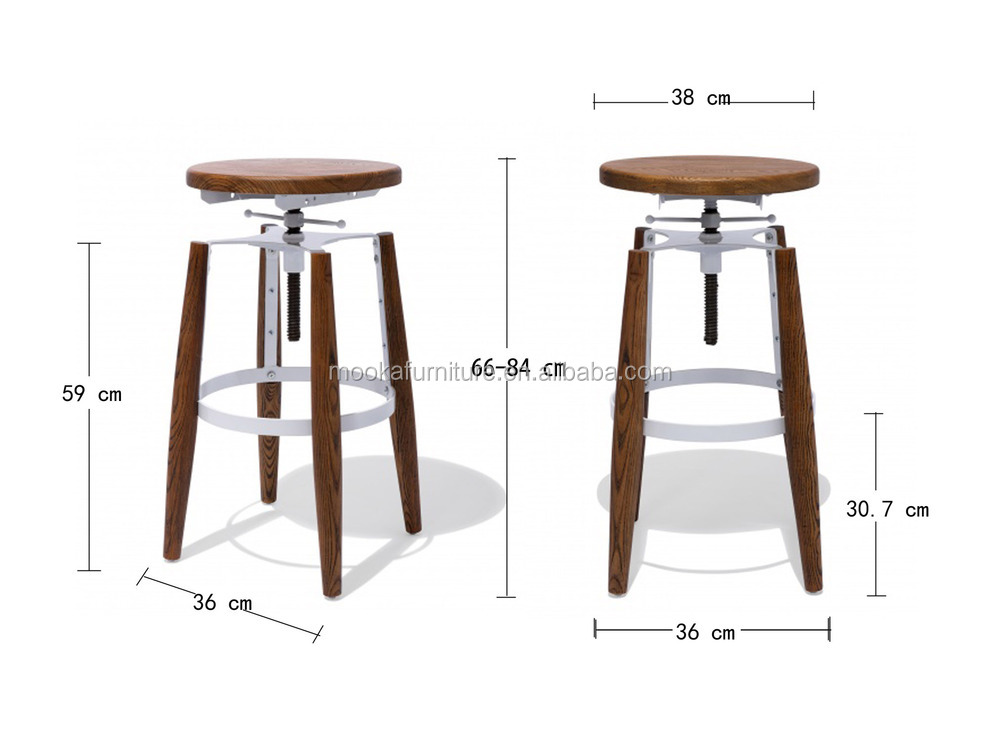 Hot Sale Wooden Seat Bar Stool Round Seat Adjustable Bar