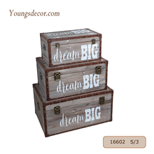 Decorative Handmade Home Furniture Wooden Storage Trunks Chest Boxes Set