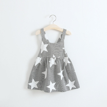 S32644W Latest summer children frock design Striped stars model girl dress