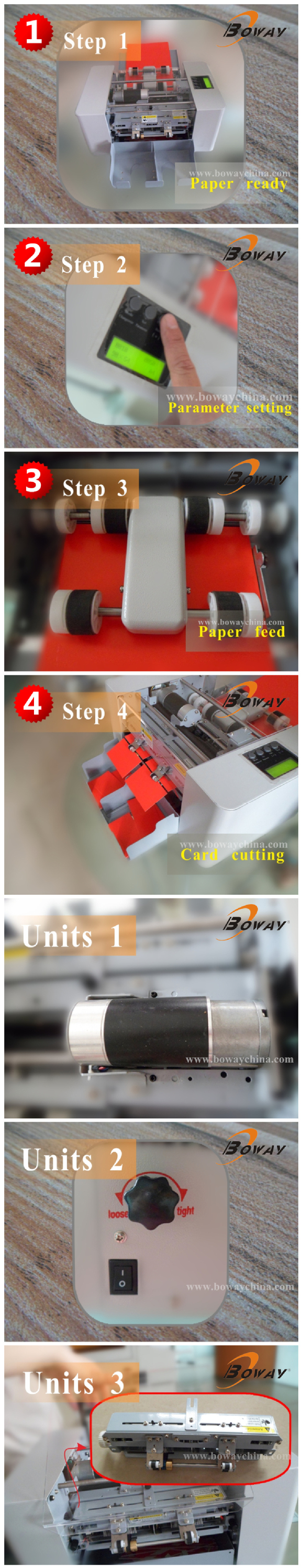 Boway service Electric laminated paper A4 Size automatic business card cutter
