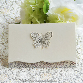 Ic140402 Hot Stamping 3 Fold Butterfly Cards For Wedding Invitation