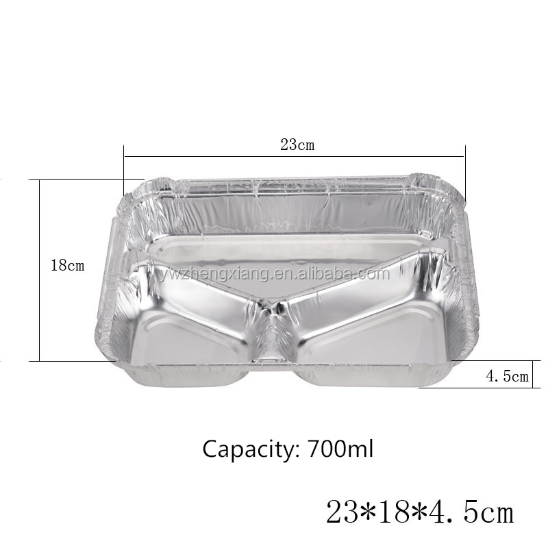 3 compartment lunch box/ Disposable aluminum foil food warmer containers/ food packaging