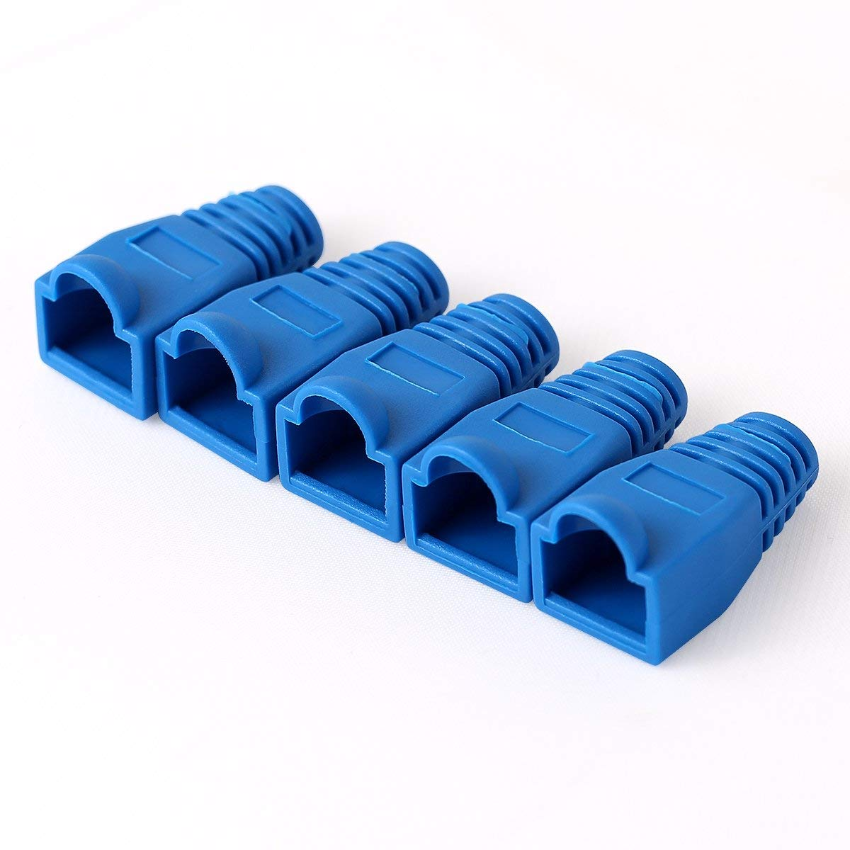 AMPCOM 100 Pcs RJ45 Connector Strain Relief Boots Cover for CAT5/5E/6/6A/7 Ethernet Cable-Low-Smoke Zero Halogen (Blue)