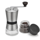Logo Customization Coffee Grind Grinder Manual Conical Ceramic Burr Hand Ground Coffee Beans Infinitely Grind Glass Jar Precise Brewing Conical Bean Burr Coffee Grinder