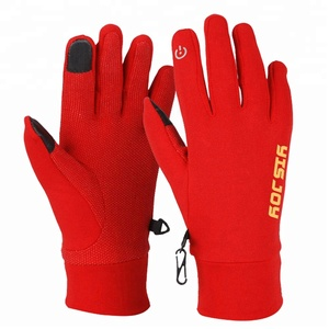 Top rated winter outdoor sports gloves extra warm red running gloves mens ladies