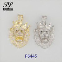2019 Most Fashion HipHop And Icedout Pave Zircon CZ Diamond Lion Head Gold Pendants