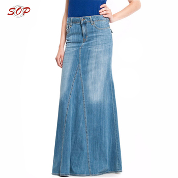 e85478ac3526 Wholesale Jean Skirt Women High Quality Cotton Maxi Long Denim Skirts