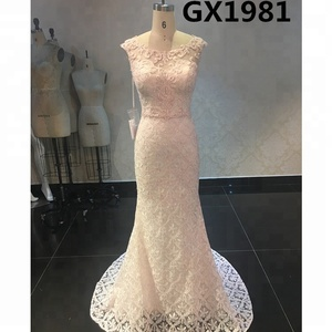 Sleeveless Baby Pink Lace Embroidery Long Cheap Evening Dresses