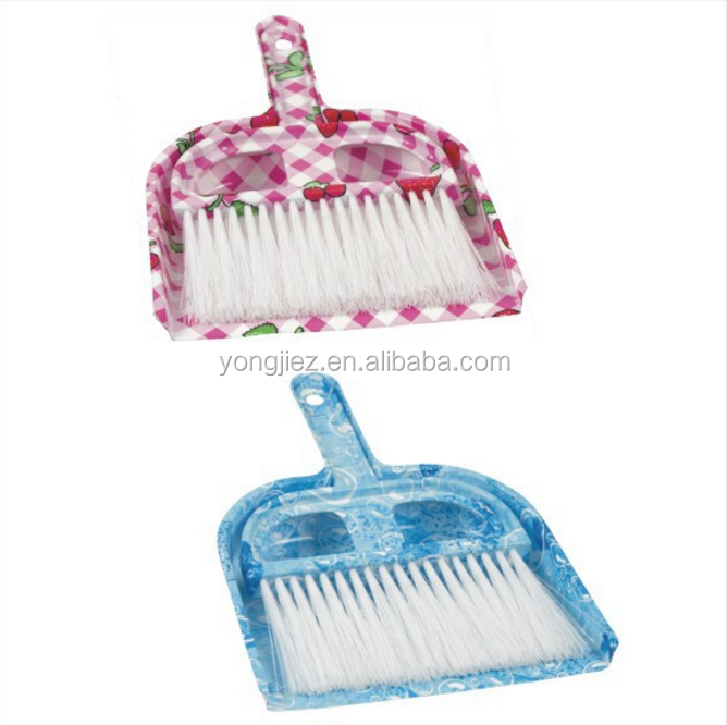 wholesale plastic printed table dustpan with brush set flower design