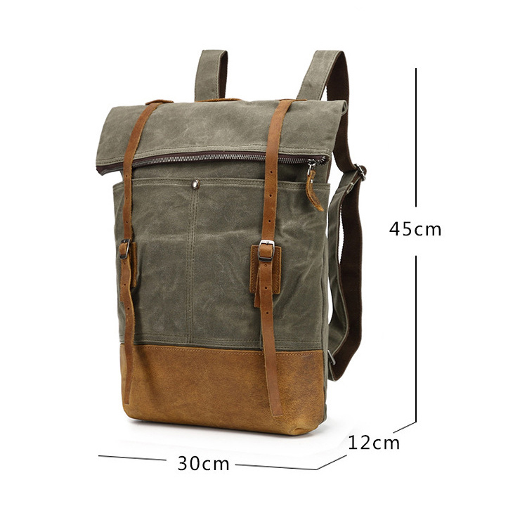 The latest design retro water proof waxed canvas rucksack outdoor backpack cycling bagpack bag