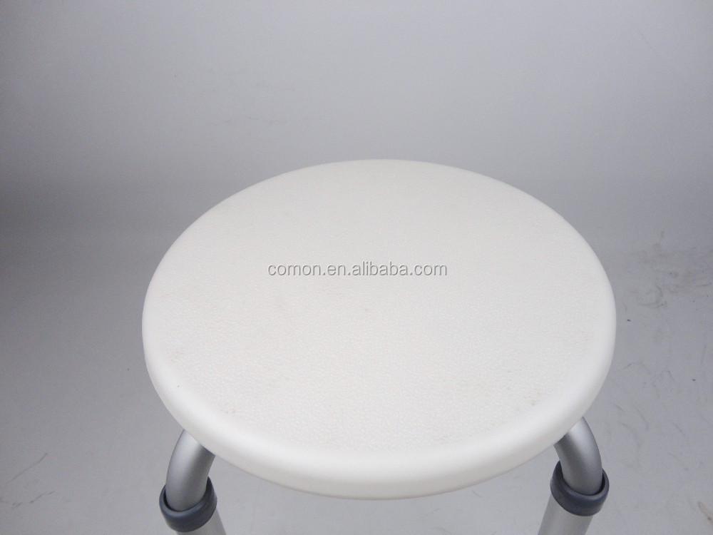 Round Shape PE Plastic Top Bath U0026 Shower Stool/Chair/Seat, Aluminum Frame