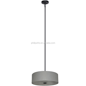 "4 light chandelier in ebony bronze finish with a round 22"" fabric shade"