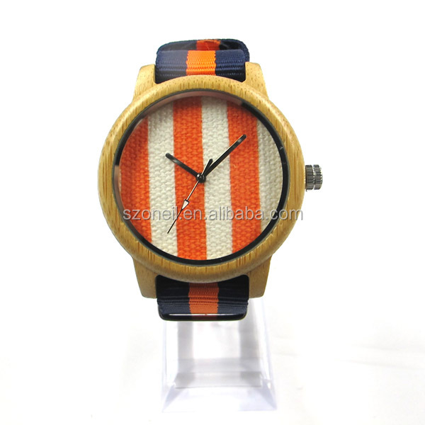 Cheap quartz wooden watches Oneil bamboo watches with nylon strap low price