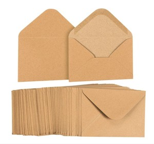 Wholesale custom 4X6 greeting cards 100 pack V flap brown kraft paper A6 envelopes