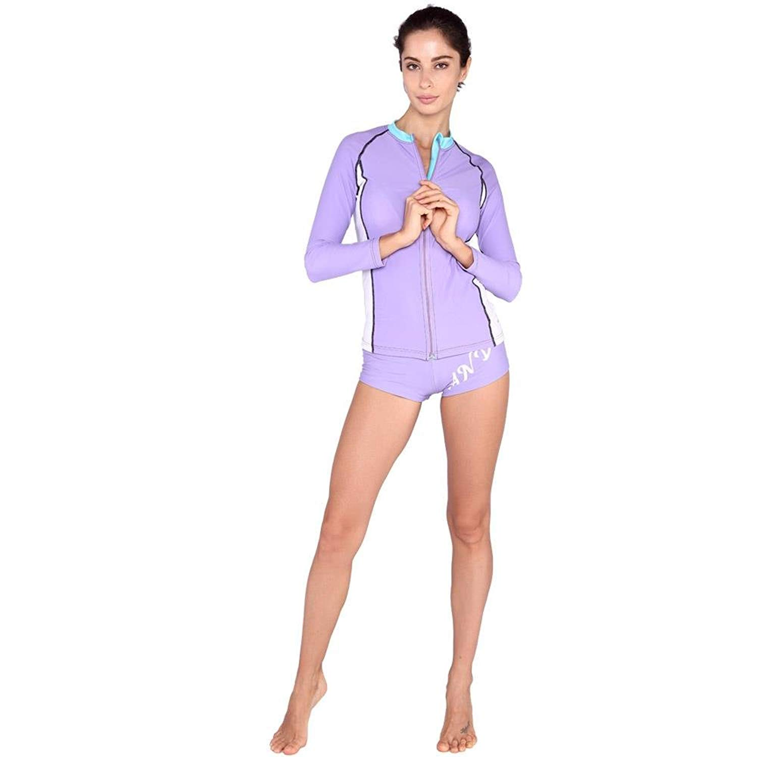 0dbf2a174c Get Quotations · 2 Pcs Women's Swimsuit Rash Guard Long Sleeve Tankini UV  Sun Protection Athletic Swim Wear
