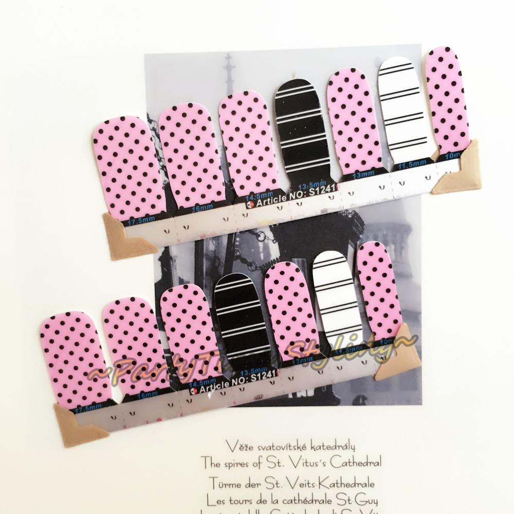 Black Pink Punctate Nail Art Sticker Patch 14 pcs set Waterproof Decals Foils Gel Polish French