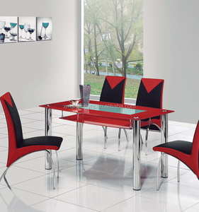 European style Modern Glass Dining Table 6 Leather Chair Sets on sale