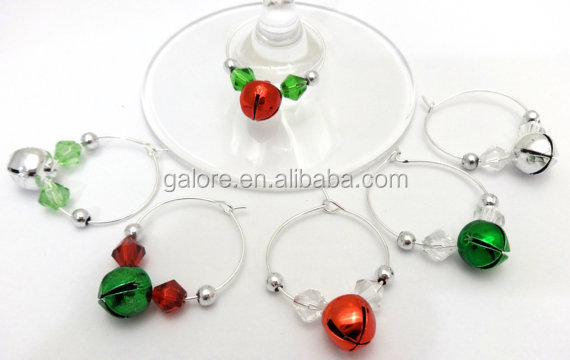 GWN080 custom design silver christmas gift jingle bell wine charm