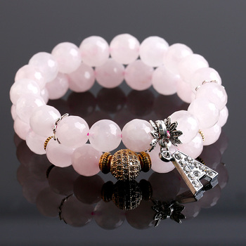 Yogo Pink Reiki Faceted With Crystal Gold Ball Drusy Agate Bracelet