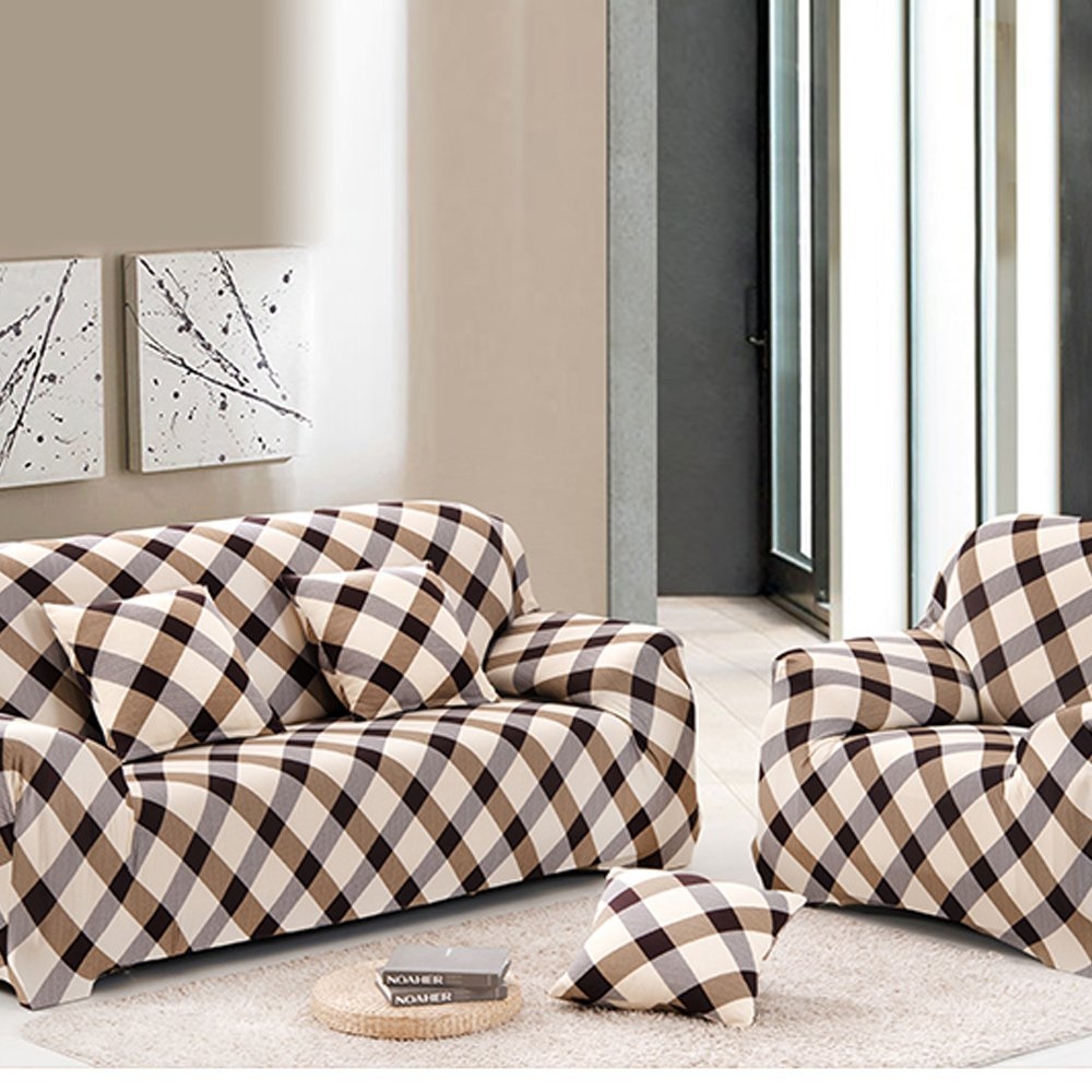 yazi Holiday Sofa Cover Grid Washable Elastic 1/2/3 Seater Couch Stretch Sette Slipcover, Sofa