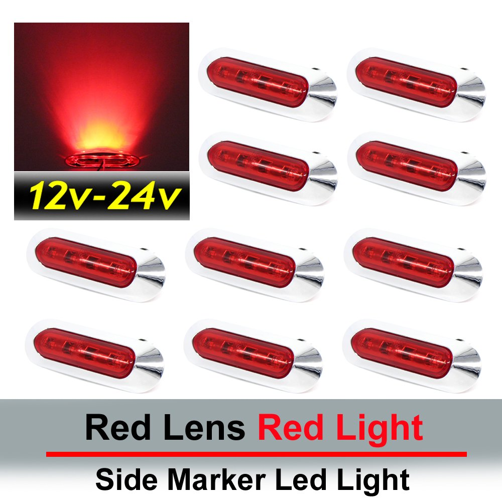 "10 pcs TMH 3.6"" submersible 4 LED Red Lens Light Side Led Marker 10-30v DC , Truck Trailer marker lights, Marker light amber, Rear side marker light, Boat Cab RV"