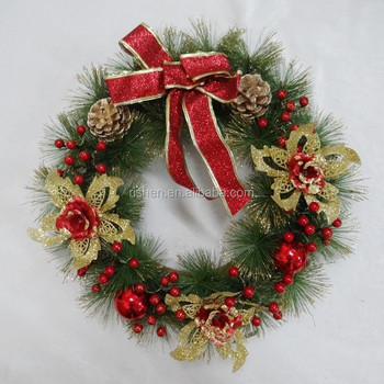 Butterfly Knot Artificial Christmas Wreaths Popular Pine Needle ...