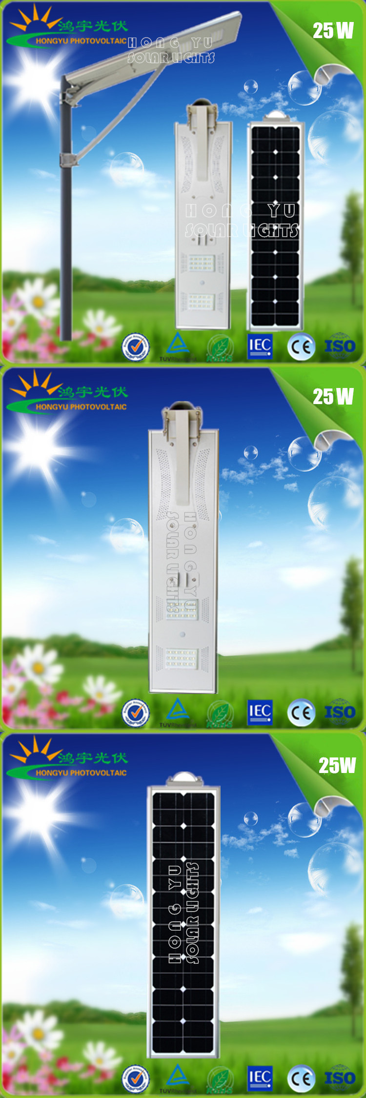 25W All in One Integrated Solar LED Street Light with motion sensor