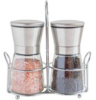 Stainless Steel Electric Salt And Pepper Grinder Mill Set - Brushed Stainless Steel Pepper Mill and Salt Mill
