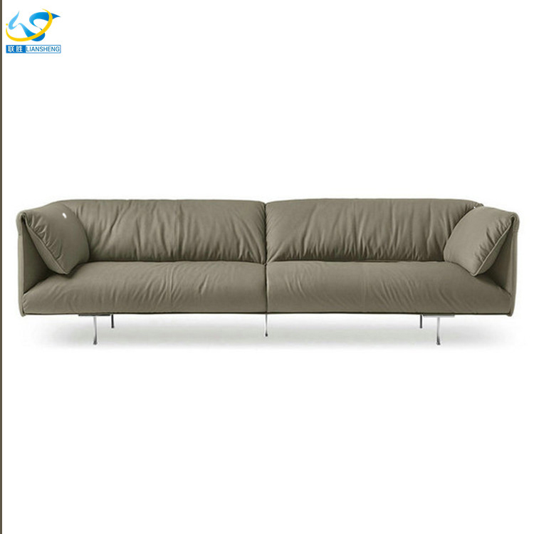 Genuine Leather Combined With Fabric Sofa Set Genuine Leather - Sofa leather and fabric combined