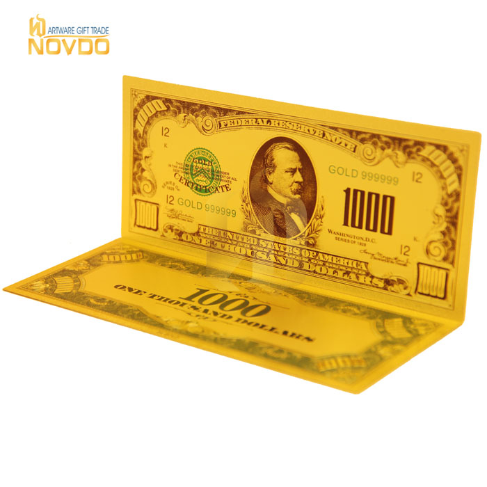 High Quality 24k Gold Plated Colored Usd 1000 Dollar Bill Banknotes